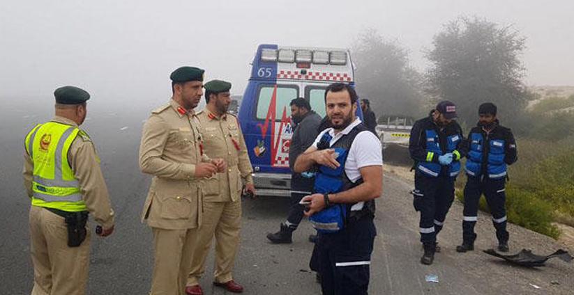 dubai,police,traffic,accidents,foggy,emergencycalls