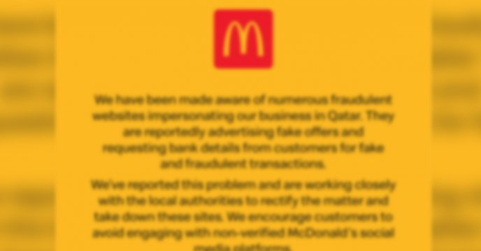 qatar,mcdonalds,cautions,customers,fake,websites